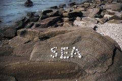 Het woordoverzees, uit zeeschelpen wordt samengesteld die Royalty-vrije Stock Foto's