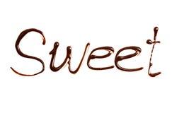 Het woordsnoepje door chocolade op wit wordt geschreven dat Royalty-vrije Stock Foto's