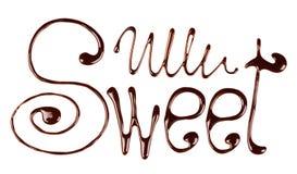 Het woordsnoepje door vloeibare chocolade op wit wordt geschreven dat Royalty-vrije Stock Afbeeldingen
