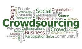 Het woordwolk van Crowdsourcing Stock Fotografie
