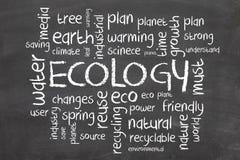 Het woordwolk van de ecologie en van de aard Stock Afbeelding