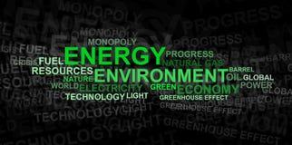 Het woordwolk van de energie en van het milieu â Stock Foto