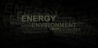 Het woordwolk van de energie en van het milieu â Royalty-vrije Stock Afbeeldingen
