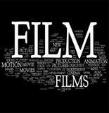 Het woordwolk van de film Stock Foto