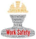 Het woordwolk van de het werkveiligheid vector illustratie