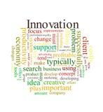 Het woordwolk van de innovatie Stock Foto's