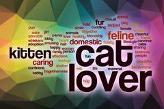 Het woordwolk van de kattenminnaar met abstracte achtergrond Stock Foto