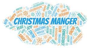 Het woordwolk van de Kerstmistrog royalty-vrije illustratie