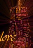 Het woordwolk van de liefde het gloeien Royalty-vrije Stock Foto's