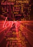 Het woordwolk van de liefde het gloeien Stock Foto's
