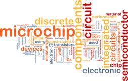 Het woordwolk van de microchip Stock Foto's