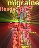 Het woordwolk van de migraine het gloeien Stock Foto's