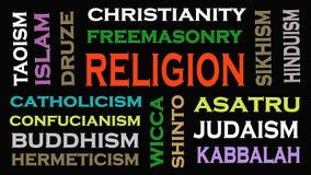 Het woordwolk van het godsdienstconcept op zwarte achtergrond stock illustratie