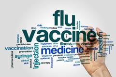 Het woordwolk van het griepvaccin Stock Foto