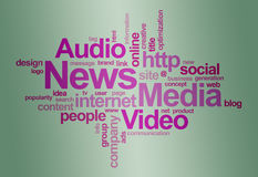 Het woordwolk van het nieuws en media â Stock Afbeeldingen