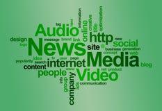 Het woordwolk van het nieuws en media â Stock Afbeelding