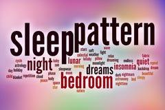 Het woordwolk van het slaappatroon met abstracte achtergrond vector illustratie