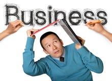 Het woordzaken van de schets met zakenman royalty-vrije stock afbeeldingen