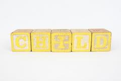 Het Word Kind in de Blokken van Houten Kinderen Royalty-vrije Stock Afbeeldingen