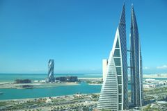 Het World Trade Center van Bahrein is meter-hoge 240, 50 vloer, tweeling complexe toren gelegen in Manama met de beroemde verdraa stock foto's