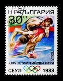 Het worstelen, de Zomerolympics 1988, Seoel serie, circa 1988 Stock Foto