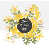 Het Wort retro uitstekende achtergrond van bloemenstjohn vector illustratie