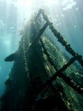 Het wrak van het schip onderwater stock foto's