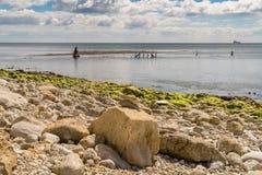 Het Wrak van Minx, Osmington-Baai, Jurakust, Dorset, het UK royalty-vrije stock foto
