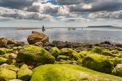 Het Wrak van Minx, Osmington-Baai, Jurakust, Dorset, het UK stock afbeeldingen