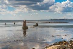 Het Wrak van Minx, Osmington-Baai, Jurakust, Dorset, het UK stock foto's