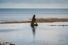 Het Wrak van Minx, Osmington-Baai, Jurakust, Dorset, het UK stock afbeelding