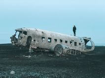 Het Wrakvliegtuig van IJsland - van Dakota royalty-vrije stock foto