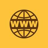 Het WWW-pictogram SEO en browser, ontwikkeling, WWW-symbool Ui web embleem teken Vlak Ontwerp app Royalty-vrije Stock Fotografie