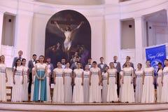 Het XIV Internationale Festival van Koorart singing world Kathedraal van Heiligen Peter en Paul royalty-vrije stock afbeelding