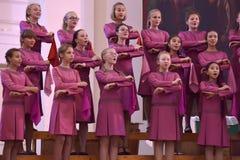 Het XIV Internationale Festival van Koorart singing world Kathedraal van Heiligen Peter en Paul stock foto