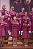 Het XIV Internationale Festival van Koorart singing world Kathedraal van Heiligen Peter en Paul stock foto's
