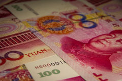Het 100 yuans of renminbibankbiljet, Chinese Munten Stock Afbeelding
