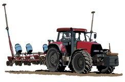 Het zaaien tractorillustratie royalty-vrije stock fotografie
