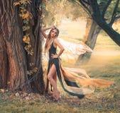 Het zachte meisje met blond haar stelt voor camera in bos, prachtige sprookjefee met transparante vleugels in lange groen royalty-vrije stock foto's