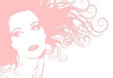 Het zachte Roze Vrouwelijke Haar van het Gezicht Royalty-vrije Stock Afbeeldingen