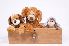 Het zachte speelgoed in trekt Stock Foto's