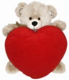 Het zachte stuk speelgoed draagt en hart Stock Afbeelding