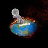 Het zachte stuk speelgoed mens fying op een het branden voetbal Royalty-vrije Stock Afbeelding