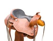Het zadel van het leer voor paarden Stock Afbeelding