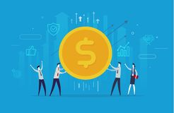 Het zakenliedenteam houdt een reusachtig dollarmuntstuk stock illustratie