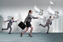 Het zakenlui die engeleninvesteerder financiering achtervolgen stock afbeeldingen