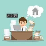 Het zakenman harde werk aangaande bureau vectorillustratie Royalty-vrije Stock Foto