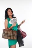 Het zakgeld van de Shopaholicvrouw en creditcard voor gemerkt punt Royalty-vrije Stock Fotografie