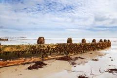 Het zand & de pijler van Worthing Stock Afbeelding