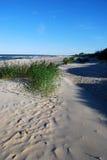Het zand, het gras en de schaduwen van duinen Stock Foto